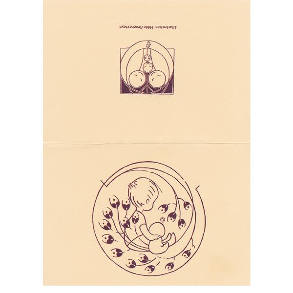 Geboortekaartje Baby studioHille Hilda groenesteyn Bloemen Art Nouveaubaby lief schattig meisje vector inkt illustratiekind peuter persoonlijk uniek origineel geboorte