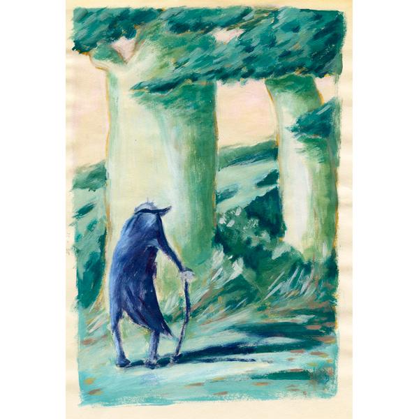 Illustratie Tekening Acrylverf Papier Oude man Bos wandeling bomen natuur bomen Eenzaam vergankelijkheid studioHille Hilda Groenesteyn