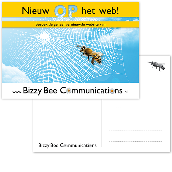 Ansichtkaart Postkaart Promotie Reclame DTP Opmaak Layout vormegeving ontwerp Bizzy Bee communications Bij Lucht Spinneweb Internet studioHille Hilda Groenesteyn