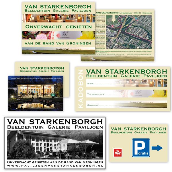 DTP opmaak Layout Paviljoen van Stakenborgh Flyer Visitekaartje Advertentie plattegrond Kadobon parkeerbord studio Hille Hilda Groenesteyn