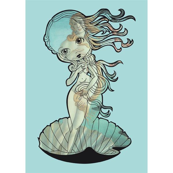 Illustratie Birth of Bird Geboorte van Venus Ontwerpwedstrijd ReDesign vector collage cute meisje vrouw schelp pastel blauw