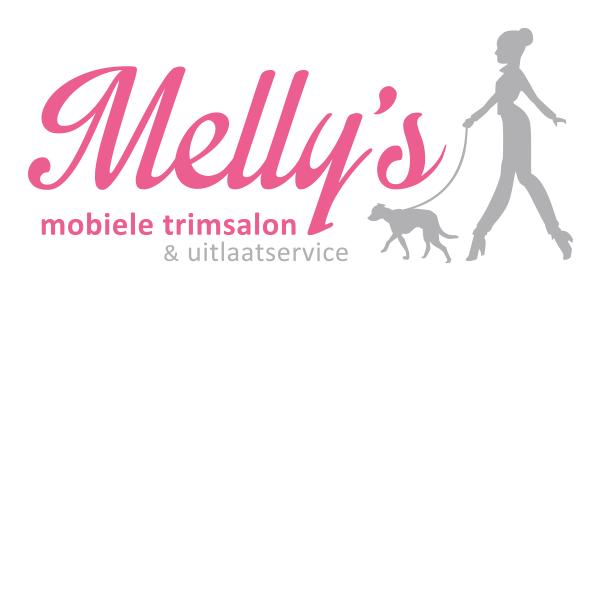 Logo trimsalon uitlaatservice studio hille hilda groenesteyn illustrator vector roze hond vrouw wandelen mobiel