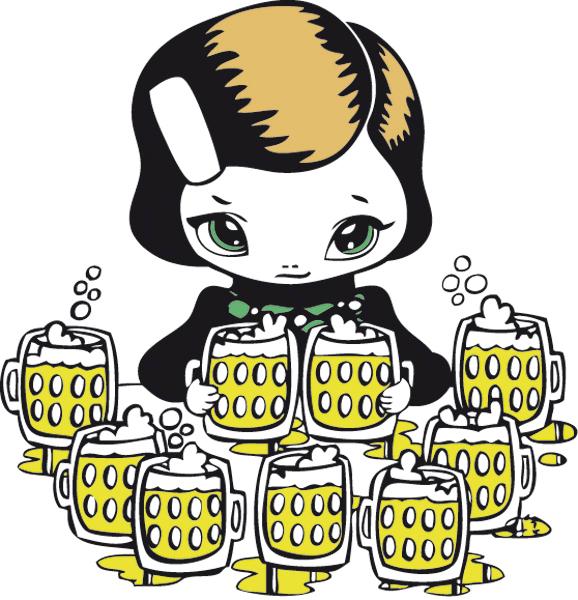 Vrij werk Vector Illustratie cute manga poppetje bier character design meisje bierpullen glazen alcohol studio Hille Hilda Groenesteyn