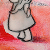 Schilderij 5x5 small art expositie Pictura Groningen 5x5cm Acryl verf Mixed Media op karton Suzy Lief meisje Roze Rood Sukkels Gemeen poppetje Mr. Grey depressed nijlpaard Oranje Grijs Te koop 50 euro studio Hille Hilda Groenesteyn