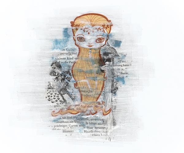 Illustratie Tekening Collage Vector Grimm Sprookjes Rapunzel Raponsje Bildts studio Hille Hilda Groenesteyn