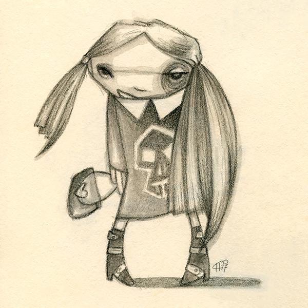 Illustratie Tekening Schets Dummy 10 Potlood Grafiet Skull Tail meisje Zwart Wit Hilda Groenesteyn studio Hille 2007
