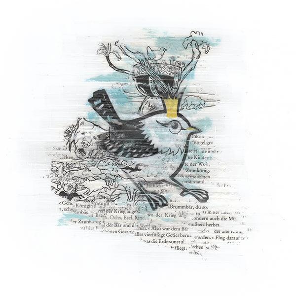 Illustratie Tekening Grunneger Grimm Keudeldoemke en Beer Winterkoninkje en de beer Sprookjes Boek Groningen Vector Collage Hilda Groenesteyn studio Hille Peter Boersma Marten van Dijken