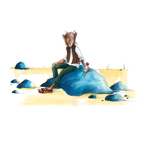 Illustratie voor De GFR van Roald Dahl The BFG Dreams Dreamen Acrylverf en krijt Reuzenland Sofie Tekening Hilda Groenesteyn studio Hille Regaad Martsje de Jong