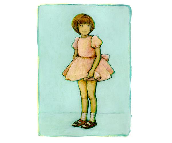 Illustratie Schilderij Zelfportret Hilda Christine Groenesteyn HCG studio Hille vier jaar kleuter Roze jurk bruiloft ik Me Mint Acryl papier Sandalen work in progress cute kawaii
