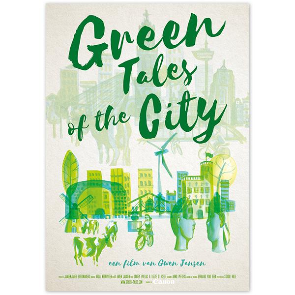 Poster Filmposter Affiche Film Documentaire Green Tales of the City Amsterdam Leeuwarden Nijmegen Rotterdam Utrecht Gwen Jansen Posterdesign Ontwerp Design Groen Verf Hilda Groenesteyn studio Hille