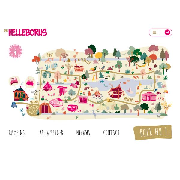 studio Hille, Hilda Groenesteyn, Illustraties, Webicons, map, Plattegrond, Webdesign, vormgeving website, de Helleborus, Engelbert, Groningen, Homepage, camping, Bed&Breakfast