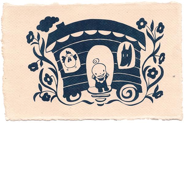 Geboortekaartje Inkt vector handgeschept papier woonwagen dieren vrolijk baby