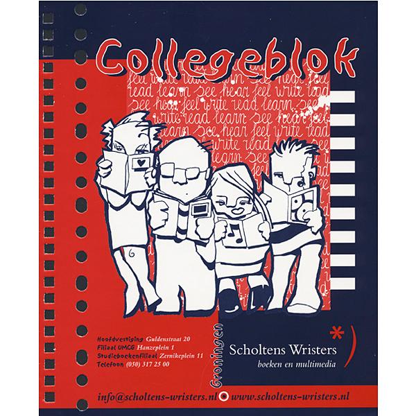 illustratie inkt Scholten Wristers Boekhandel College notitieblok cover kaft mensen lezen write read learn see