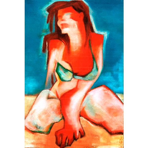 Schilderij Canvas doek Acryl verf Vrouw Naakt bikini zon strand zee kleurrijk figuratief zand model