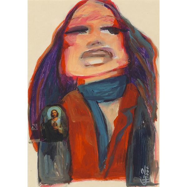 Schilderij acryl verf papier collage vrouw fotomodel portet jezus Christus Religie ansichtkaart