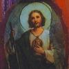 Schilderij acryl verf papier collage vrouw fotomodel portet jezus ansichtkaart