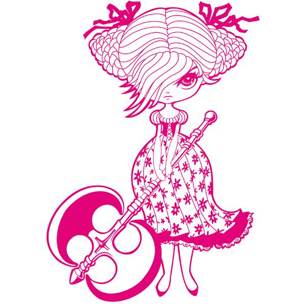 Vector Illustratie Manga Middeleeuwen meisje cute pink roze wapen Dubbele bijl Double Bladed Battle Axe