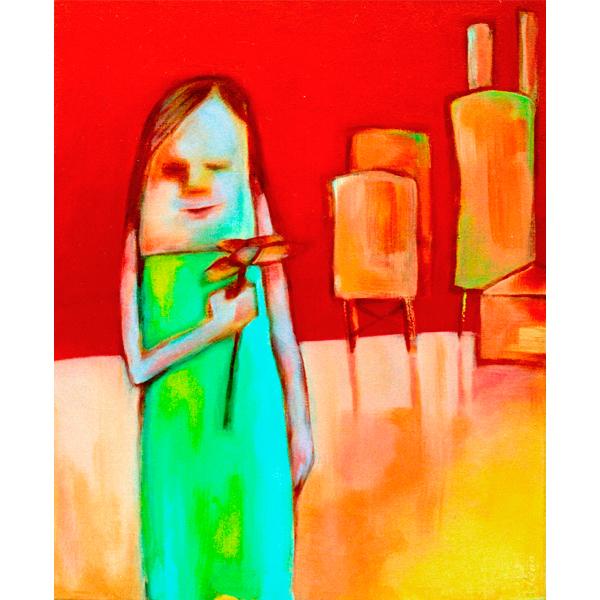 Schilderij Acryl verf op doek Kleurrijk Rood Oranje Groen silo's vrouw met bloem naief
