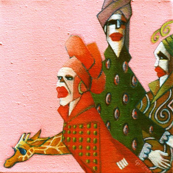Schilderij Acryl verf op canvas Kleurrijk Vrouwen Dieren Giraffe Decoratief Patroon Mode Kleding Design