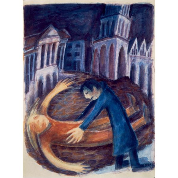 Tekening Illustratie Acryl verf op papier Grote Markt Groningen Paar Stel Liefde Naief Kleurrijk Dronken Geluk