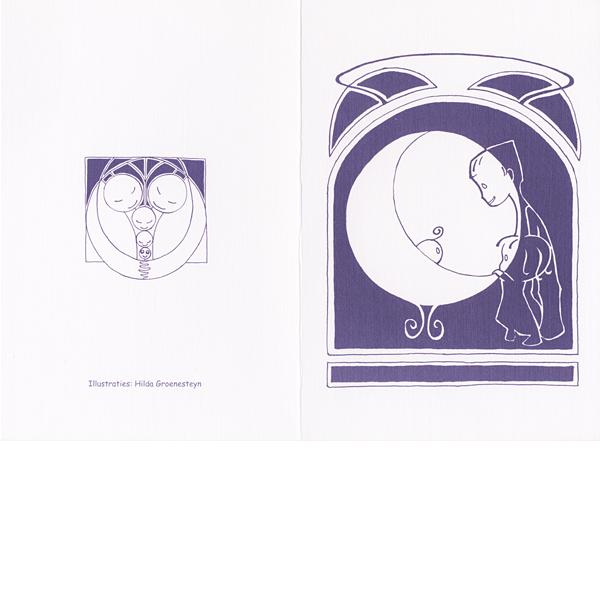 Geboortekaartje Baby Inkt Papier Paars Maan Wieg Kinderen Vrolijk Lief Decoratief