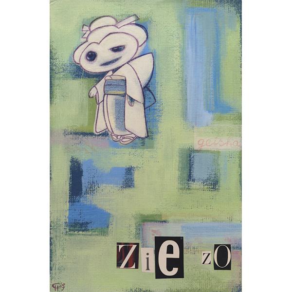 Schilderij tekening collage acryl verf potlood papier op karton Geisha typografie abstract studio Hille Hilda Groenesteyn