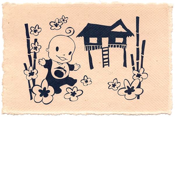 Geboortekaartje baby lief handgeschept papier persoonlijk uniek illustratie origineel drukwerk inkt vector vietnam bloemen vakantie paalwoning cute