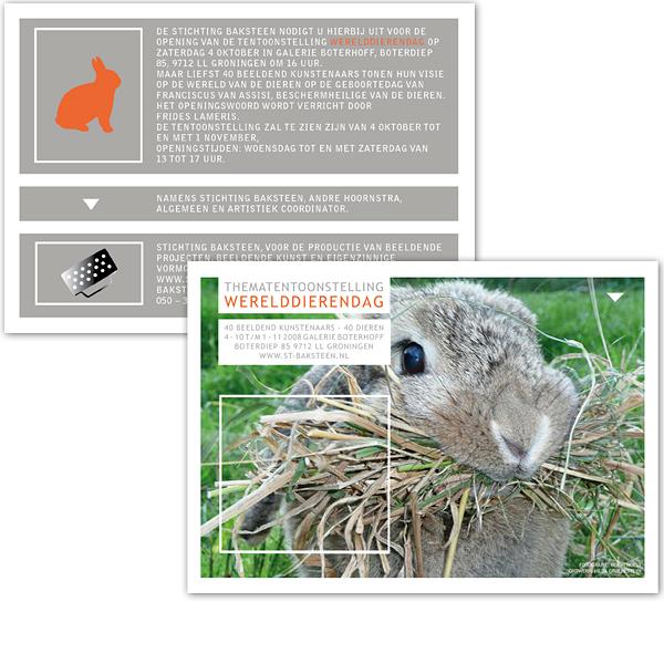 Flyer Uitnodiging Expositie Kunst Wereld Dierendag dier Konijn foto promotie reclame advertentie opvallend uniek grafisch ontwerp