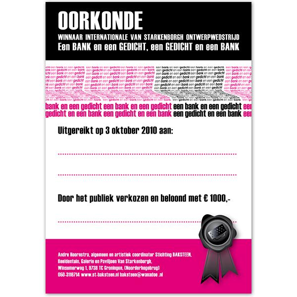 DTP Oorkonde Expositie Logo ontwerp kunst Stichting Baksteen beeldentuin Art wedstrijd Desktop publishing opmaak grafisch tekst promotie reclame