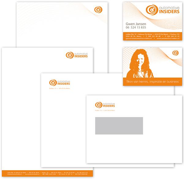 Ontwerp Huisstijl Visitekaartje Briefpapier Volgvel Envelop Modern Oranje Strak Automotive Insiders studioHille Hilda Groenesteyn