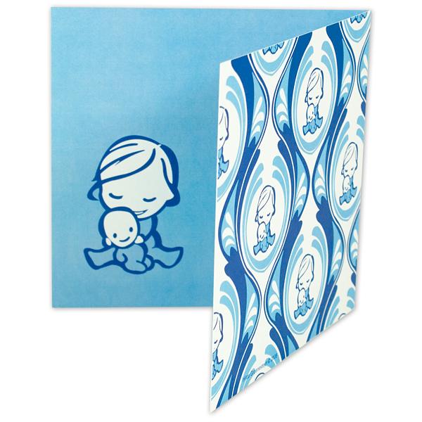 Geboortekaartje baby lief jongen illustratie blauw vector kind peuter symboliek persoonlijk uniek origineel bahang patroon zusje geboorte