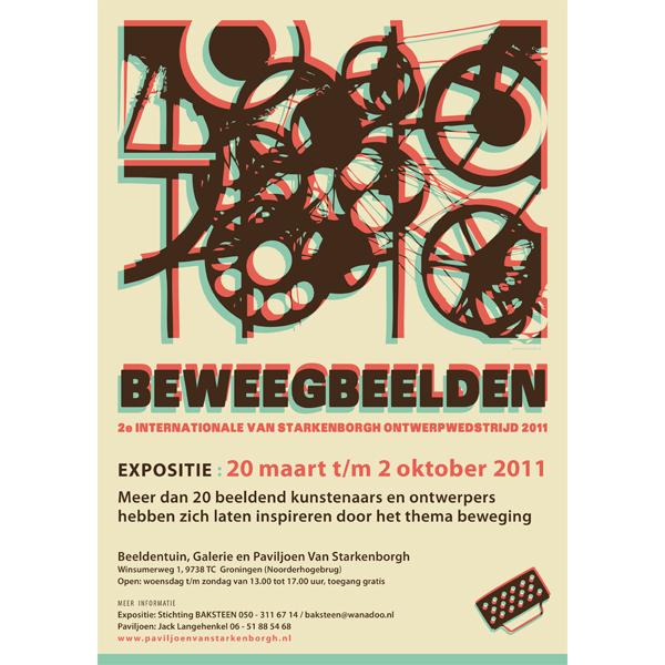 Poster flyer DTP Opmaal Lay-out Vector illustratie ontwerp retro Expositie Kunst Beelden Installatie Stichting Baksteen Tinguely Kunstenaars Ontwerpers