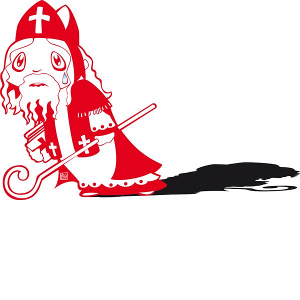 Vector Illustratie protest Sinterklaas Kerst 5 december Cute character design rood zwart