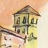 Illustratie studioHille Hilda Groenesteyn Schets Tekening Inkt papier verf stadsgezicht Italië Verona