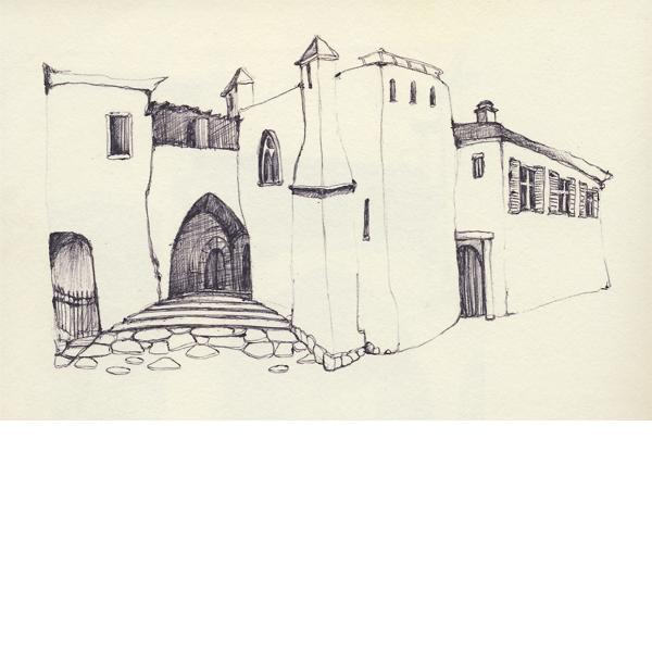 Illustratie studioHille Hilda Groenesteyn Schets Tekening ballpoint pen papier fantasie dorp straat