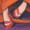 Illustratie Tekening Acrylverf Krijt Pastel collage Papier studioHille Hilda Groenesteyn Geisha Kimono Paars Oranje
